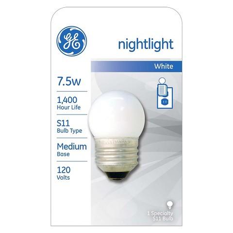 GE 7.5-Watt Nightlight Incandescent Light Bulb - White