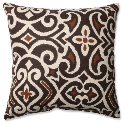 "Damask Square Toss Pillow - Brown/Beige (16.5x16.5"")"
