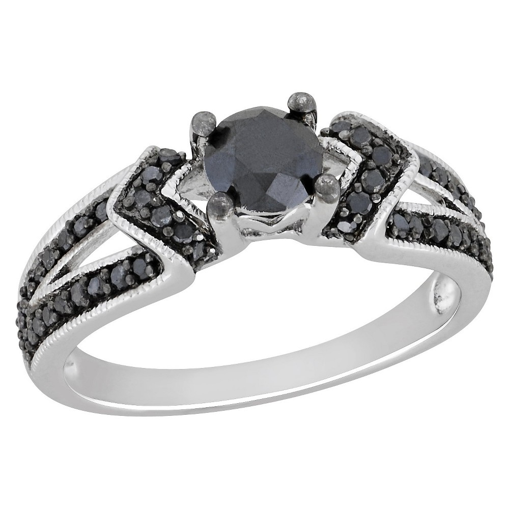 Allura 1 CT. T.W. Black Princess Diamond Engagement Ring in Sterling Silver, Women's, Size: 7.0, Silver Black