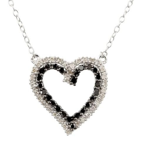 Allura 1/3 CT. T.W.  Black and White Diamond Heart Pendant in Sterling Silver