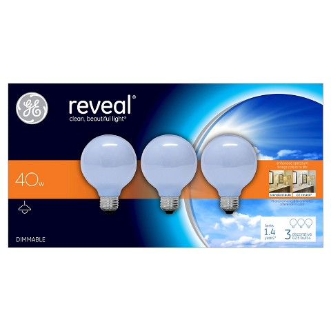 GE Reveal 40-Watt G25 Incandescent Light Bulb (3-Pack) - White