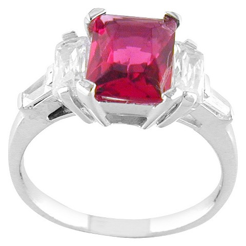 Silver Plated Square Ring Hot Pink