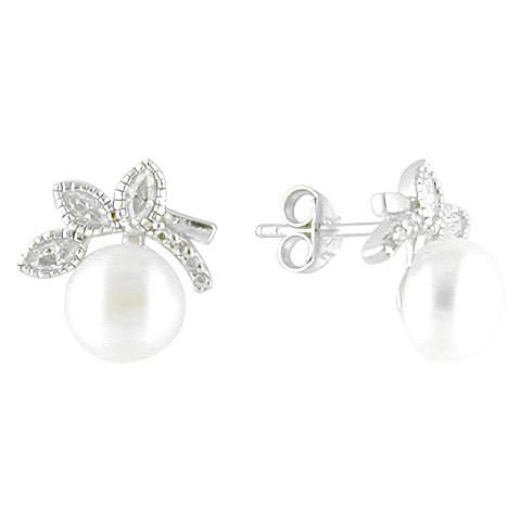 - White/Silver Er Ss Cz Freshwater Pearl Flower