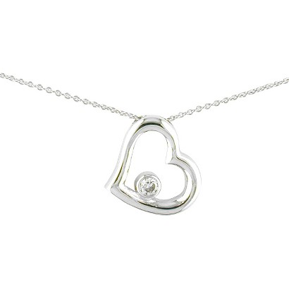 Silver Plated  Cz Heart  Necklace  - 18""