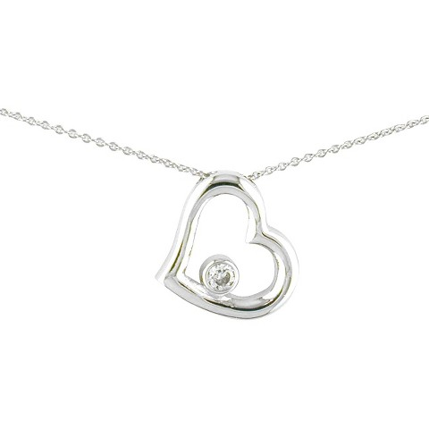 """Silver Plated CZ Heart Necklace  - 18"""""""