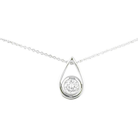 Silver Plated Teardrop Cz Necklace - 18""