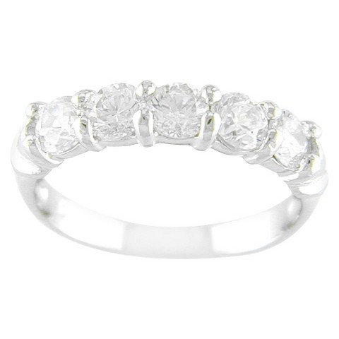 Silver Plated 5 Stone CZ Band Ring Silve