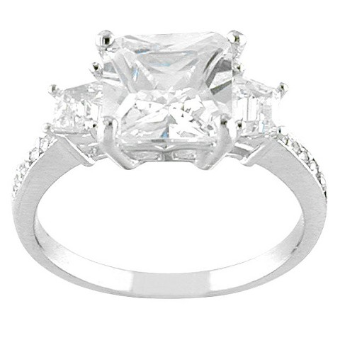 Silver Plated Square Cubic Zirconia Ring
