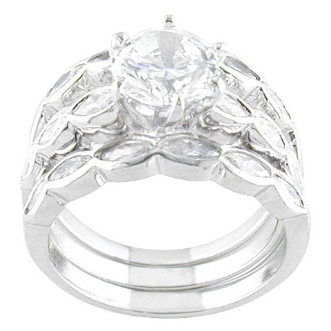 Silver Plated CZ Wedding Ring Set Silver