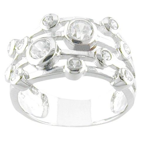 Silver Plated CZ Bubble Band Ring Silver
