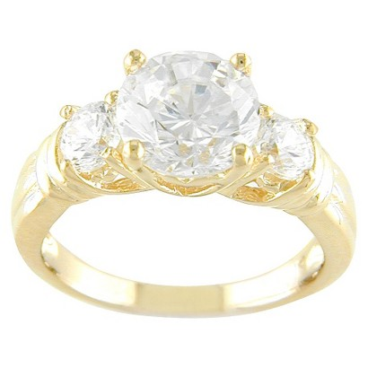 14k Gold Plated 3 Stone CZ Ring Gold