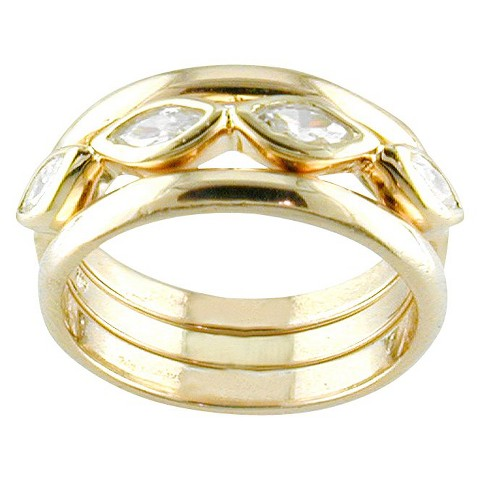 14k Gold Plated CZ 3 Ring Set Gold