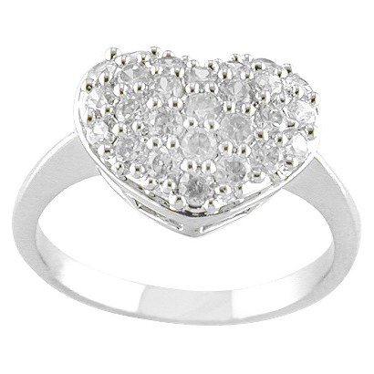 Silver Plated Pave CZ Heart Ring Silver