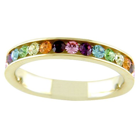 14K Gold Plated White Eternity Ring Multicolored