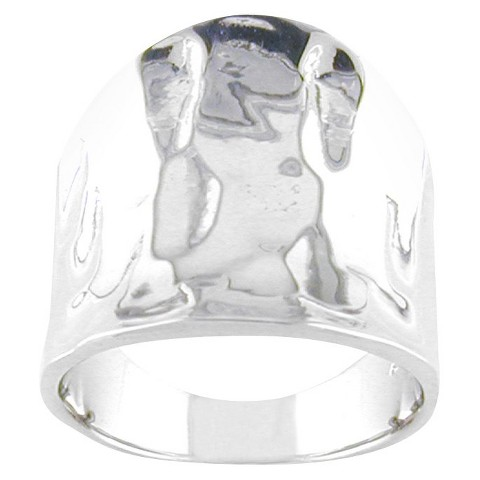 Silver Plated Hammered Wide Band Ring Sl