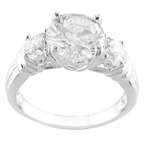 Silver Plated 3 Stone CZ Ring Silver