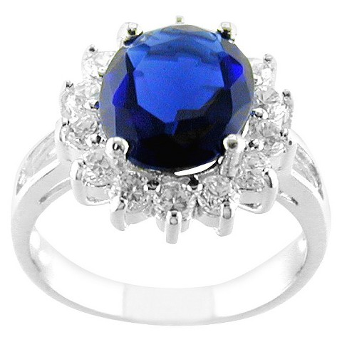 Silver Plated Oval Ring Dark Blue