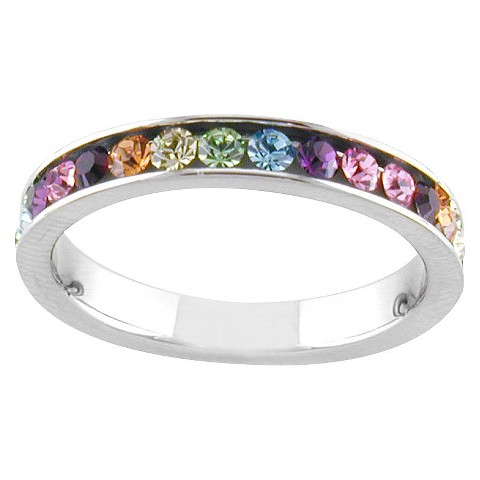 Silver Plated Multicolor Eternity Ring S