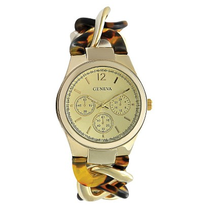 Geneva Gold/Tortoise Chain Link Watch