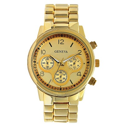 Geneva Gold Round Case Bracelet Watch