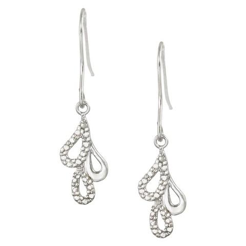 Sterling Silver Diamond Accented Triple Teardrop Dangle Earrings