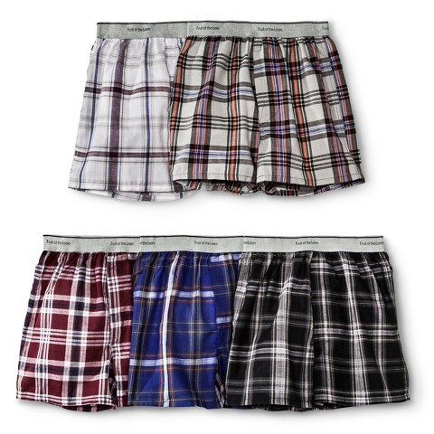 Boys' Fruit Of The Loom&#174 5-pack Plaid Boxer Underwear - Assorted Colors