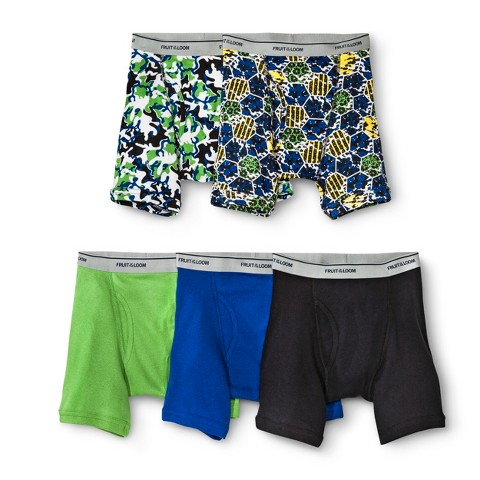 Boys' Fruit Of The Loom&#174 5-pack Prints and Solids Boxer Briefs - Multicolor