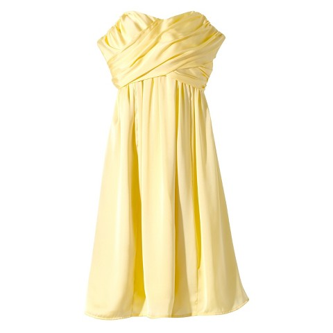 Women's Satin Strapless Bridesmaid Dress  Fashion Colors - TEVOLIO&#153