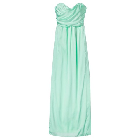 Women's Satin Strapless Maxi Bridesmaid Dress  Fashion Colors - TEVOLIO&#153