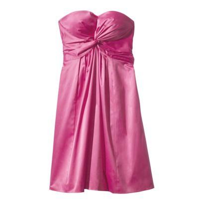 Women's Strapless Twist Front Sweetheart Sateen Dress - Assorted Colors