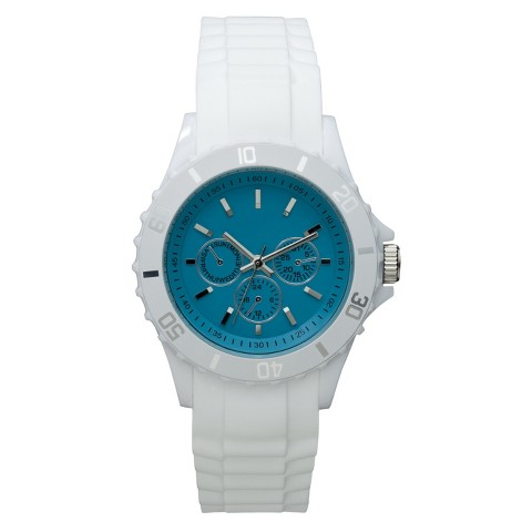 Xhilaration® Rubber Bumpy Strap Watch with Decorative Dial - Turquoise/White