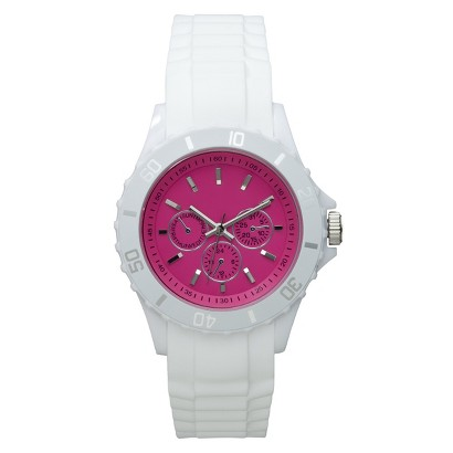 Xhilaration® White Rubber Bumpy Strap Watch with Pink Dial