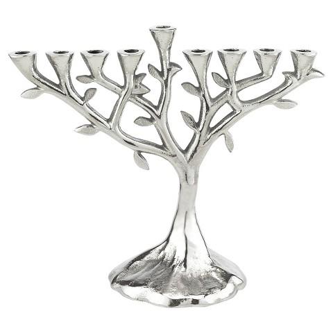 Hanukkah Aluminum Tree of Life Menorah