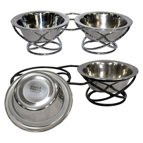 Boots & Barkley™ Wrought Iron and Stainless Steel Cat Dinner Bowl Set 3-pc.