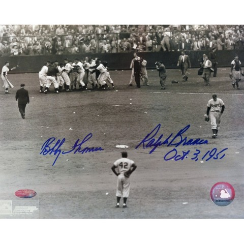 "Ralph Branca/Bobby Thomson with Jackie Robinson Vertical Autographed Photo (8""x10"")"