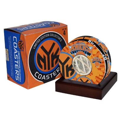 Steiner Sports New York Knicks Coaster Set with Game Used Basketball Uniform Swatch