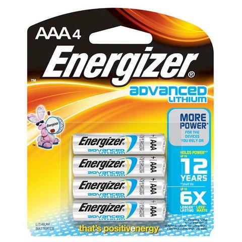 Energizer Advanced Lithium AAA Batteries 4 Count (EA92BP-4)