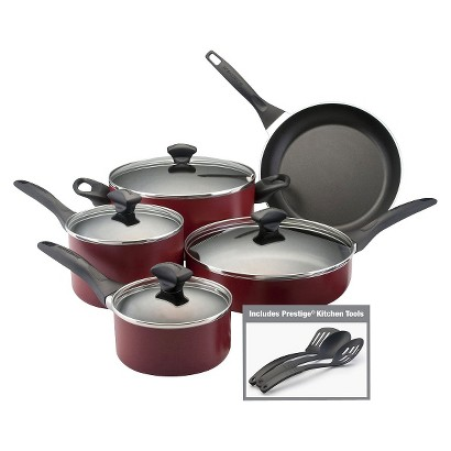FARBERWARE 12PC NON-STICK COOKWARE SET RED