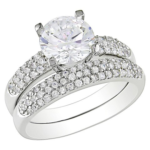4.44 CT. T.W. Cubic Zirconia Bridal Ring Set in White Silver in Sterling Silver