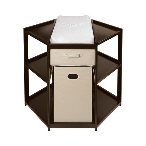 Badger Basket Diaper Corner Changing Table - Espresso