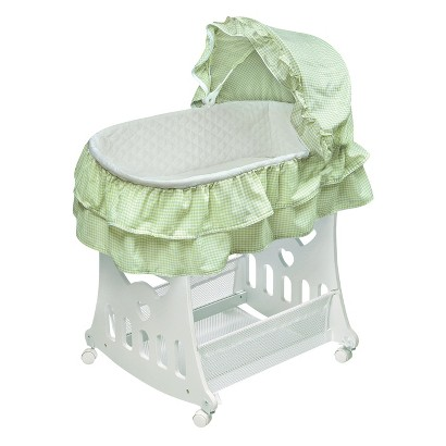 Badger Basket 2-in-1 Portable Bassinet with Toy Box Base - Sage Gingham