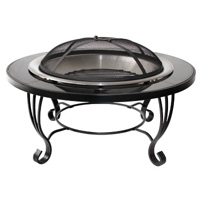 "34"" Black Granite Fire Pit"