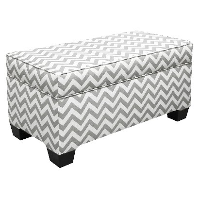 Skyline Furniture Storage Bench Upholstered in Fashion Fabrics - Gray