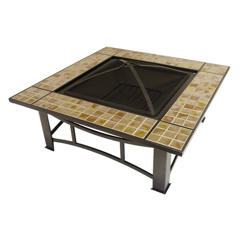 "36"" Square Amber Glass Fire Pit"