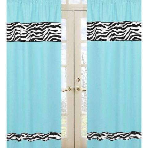 Sweet Jojo Designs Turquoise Zebra Window Panels
