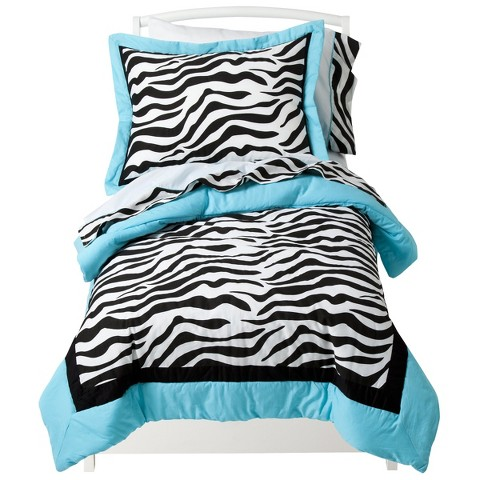 Sweet Jojo Designs Turquoise Zebra 5 pc. Toddler Bedding Set