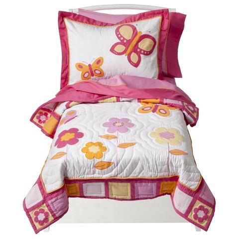Sweet Jojo Designs Pink and Orange Butterfly 5 pc. Toddler Bedding Set