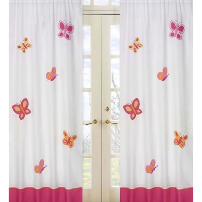 Sweet Jojo Designs Pink and Orange Butterfly Window Panels