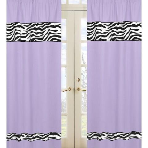 Sweet Jojo Designs Purple Zebra Window Panels
