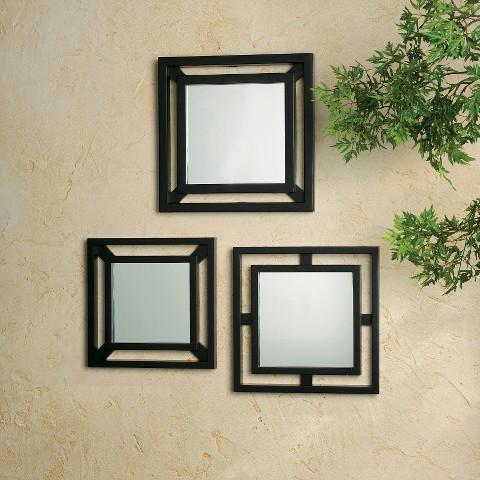 3 Piece Double Square Mirrors - Black